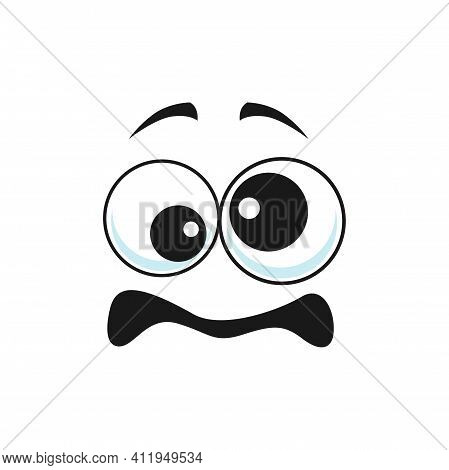 Cartoon Face, Confused Emoji, Odd Vector Facial Expression With Different Size Goggle Eyes And Open