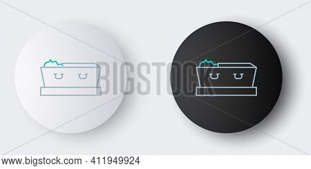 Line Open Coffin With Dead Deceased Body Icon Isolated On Grey Background. Funeral After Death. Corp