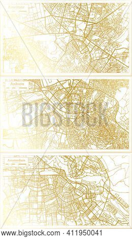 Ankara Turkey, Amsterdam Holland and Amritsar India City Map Set in Retro Style in Golden Color. Outline Map.