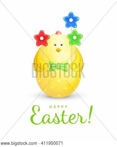 Happy Easter Greeting Card With Text. Easter Egg In The Form Of A Chicken. Cute Easter Decoration In