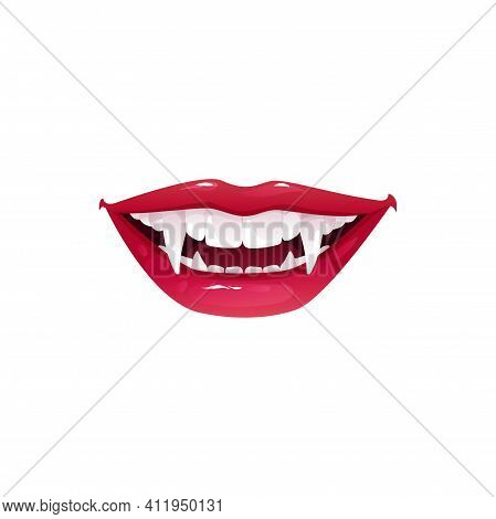 Vampire Mouth With Fangs Vector Icon. Cartoon Smiling Female Red Lips With Long Pointed Teeth Expres