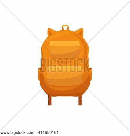 Kids Schoolbag Isolated Vector Icon, Cute Orange Cartoon Rucksack With Fox Animal Ears. Baby Student