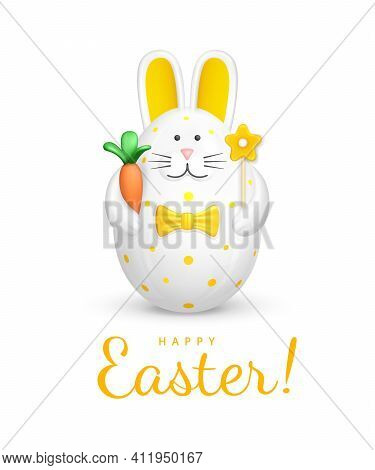 Happy Easter Greeting Card With Text. Bunny Shaped Easter Egg. Easter Decoration - Figurine Of A Whi