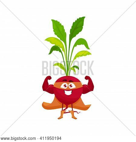 Cartoon Radish Super Hero Isolated Vector Icon. Funny Vegetable In Cloak And Mask Demonstrate Power.