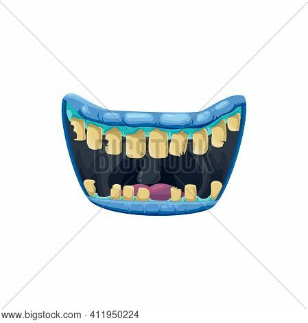 Monster Mouth Vector Icon, Creepy Zombie Jaws With Broken Yellow Teeth And Nasty Blue Lips. Hallowee