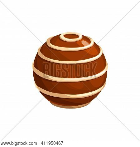 Chocolate Candy Vector Icon. Sweet Choco Dessert In Shape Of Ball With White Topping Spiral Stripes.