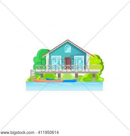 Tropical Wooden House On Water On Seaside Of Island At Tahiti Or Bora Bora, Maldives Or Caribbean Be
