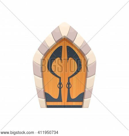 Cartoon Door Or Castle Gates Vector Icon, Wooden And Stone Medieval Or Fairytale Arched Entry With F