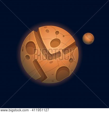 Planet Of Chocolate Isolated Sweet Confectionery World Flat Cartoon Icon. Vector Tasty Sphere With C