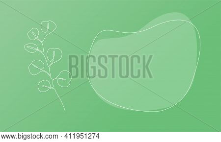 Nature Template Presentation Design With Silver Eucalyptus. Template For Web Banner With Botany Plan