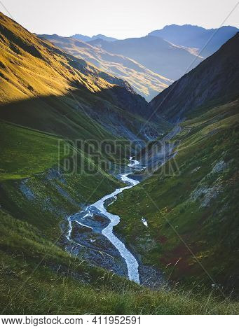 Scenic Valley In Tusheti Atsunta Pass Hiking Trail Route With Caucasus Mountains Background During S
