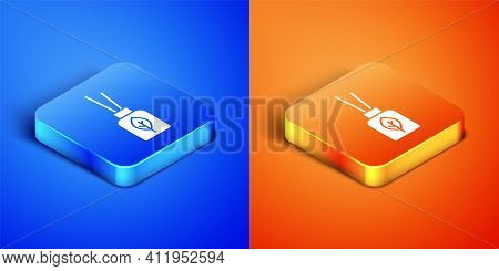 Isometric Aroma Diffuser Icon Isolated On Blue And Orange Background. Glass Jar Different With Woode