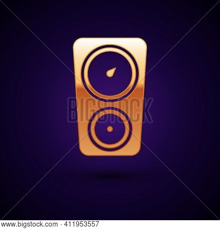 Gold Gauge Scale Icon Isolated On Black Background. Satisfaction, Temperature, Manometer, Risk, Rati