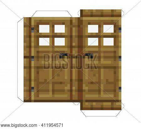 Papercraft Doors. Papercraft 5 Classic Blocks. Pixel Wood Doors. The Concept Of Games Background. Mi