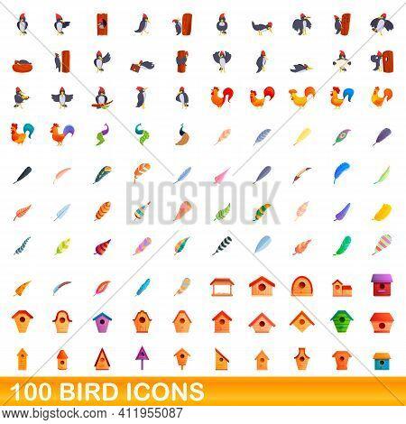 100 Bird Icons Set. Cartoon Illustration Of 100 Bird Icons Vector Set Isolated On White Background