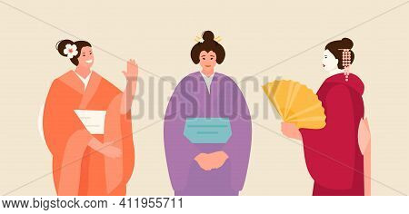 Japanese Women In Traditional National Costumes. Welcome To Japan Vector Illustration