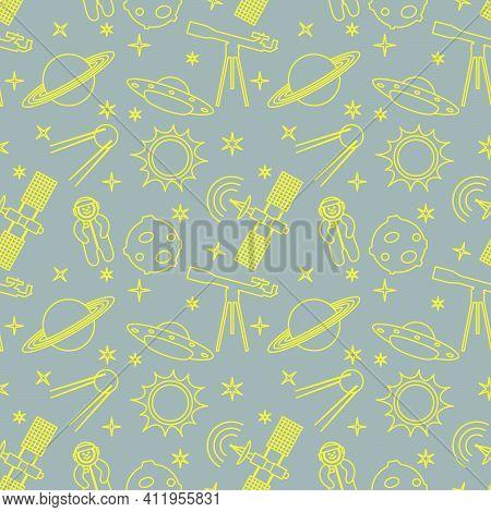 Seamless Pattern With Telescope, Ufo, Satellite, Planets, Astronaut, Orbital Station, Sun, Stars. Sp