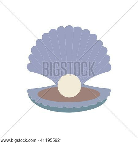 Open Clam With Pearl Vector Illustration On Clean White