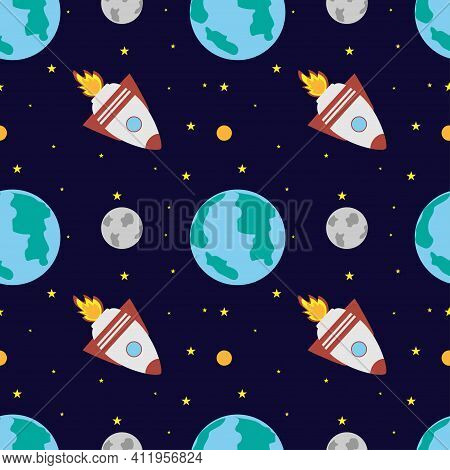 A Space Rocket Flies Near The Earth And The Moon On A Dark Blue Background. Space Exploration. Trave