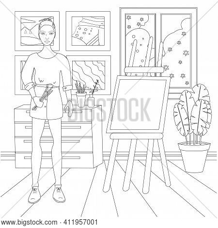 Doll Artist With Easel In Workshop, Coloring Page For Kids And Adults, Simple Flat Vector Illustrati