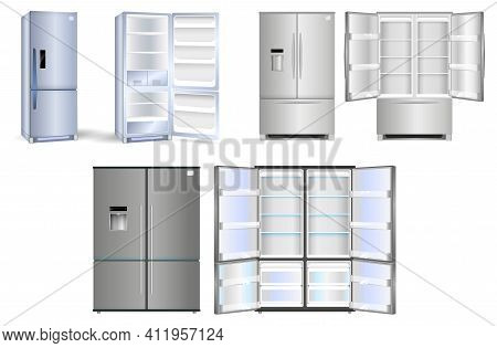 Set Of Realistic Refrigerator With One Door Or Open Refrigerator With Two Doors Full Of Food Vegetab