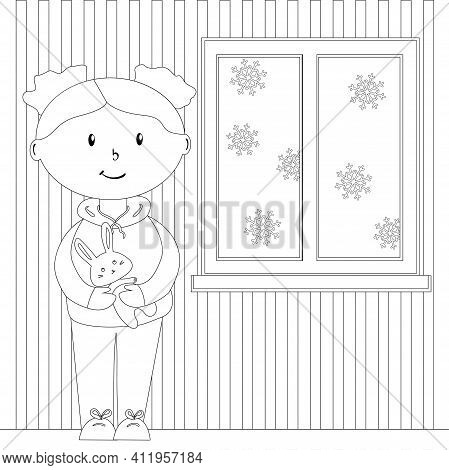Doll With Bunny In A Cozy Room With A Winter Window, Coloring Page For Children, Simple Flat Vector