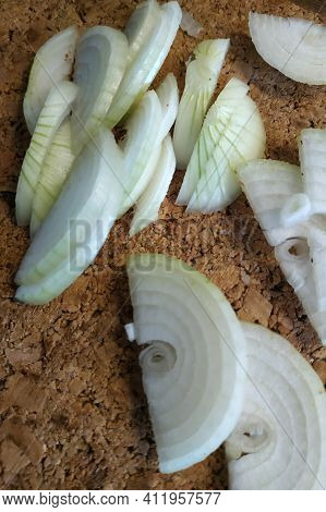 Cut Into Half Rings White Onions, Healthy And Fresh Vegetables.