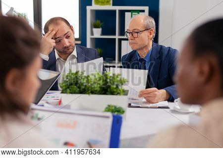 Group Of Businesspeople Discussing Talking Working In Conference Room Multiethnic Colleagues Working