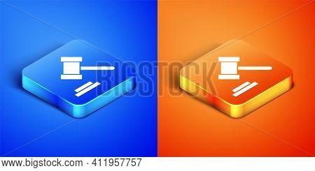 Isometric Judge Gavel Icon Isolated On Blue And Orange Background. Gavel For Adjudication Of Sentenc