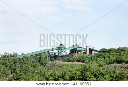 Old coal handling plant (CHP) in a opencast coal mine