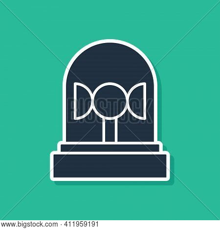 Blue Flasher Siren Icon Isolated On Green Background. Emergency Flashing Siren. Vector