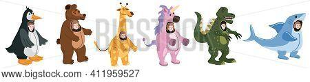 Set Actors In Animal Penguin, Bear, Giraffe, Unicorn Dinosaur, Shark Costume. Theme Party, Birthday
