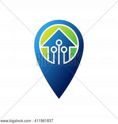 Smart home logo icon with Location design concept. Smart Home Logo. Home Logo. Smart Home. Smart House Logo. Smart Home vector, Smart Home Logo vector, Home Logo design. Smart Home Logo icon vector. Smart Home icon isolated on white background