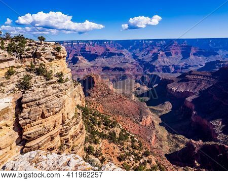 National Parks Usa Southwest Grand Canyon Labyrinth Of Rock Cliffs, Terraces, Chasms And Ravine Dril
