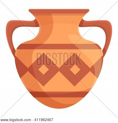 Amphora Clay Icon. Cartoon Of Amphora Clay Vector Icon For Web Design Isolated On White Background