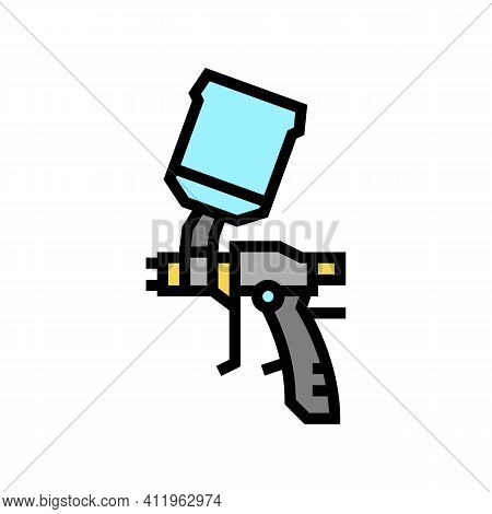 Gun For Painting From Air Compressor Color Icon Vector. Gun For Painting From Air Compressor Sign. I