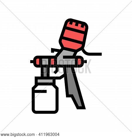 Paint Tool From Air Compressor Color Icon Vector. Paint Tool From Air Compressor Sign. Isolated Symb