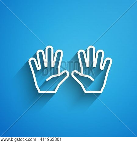 White Line Medical Rubber Gloves Icon Isolated On Blue Background. Protective Rubber Gloves. Long Sh