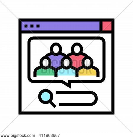 Analytics Of People Requests In Internet Color Icon Vector. Analytics Of People Requests In Internet