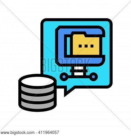 File Compression Digital Processing Color Icon Vector. File Compression Digital Processing Sign. Iso
