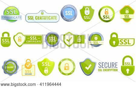 Ssl Certificate Icons Set. Cartoon Set Of Ssl Certificate Vector Icons For Web Design