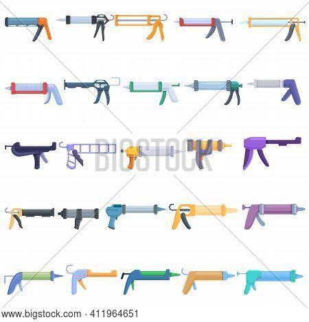 Silicone Caulk Gun Icons Set. Cartoon Set Of Silicone Caulk Gun Vector Icons For Web Design