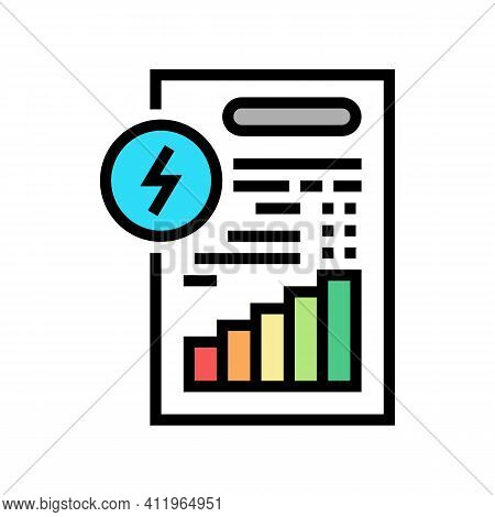 Invoice Document Of Energy Saving Color Icon Vector. Invoice Document Of Energy Saving Sign. Isolate
