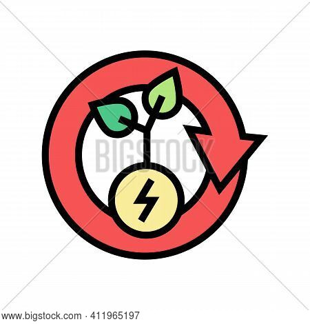 Plant Recovery Energy Saving Color Icon Vector. Plant Recovery Energy Saving Sign. Isolated Symbol I