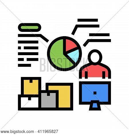 Analytics Shipment Logistics Color Icon Vector. Analytics Shipment Logistics Sign. Isolated Symbol I