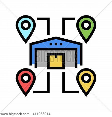 Storehouses Location Color Icon Vector. Storehouses Location Sign. Isolated Symbol Illustration
