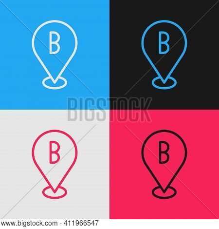 Pop Art Line Map Pin Icon Isolated On Color Background. Navigation, Pointer, Location, Map, Gps, Dir
