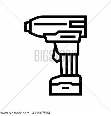 Drill With Air Compressor Line Icon Vector. Drill With Air Compressor Sign. Isolated Contour Symbol