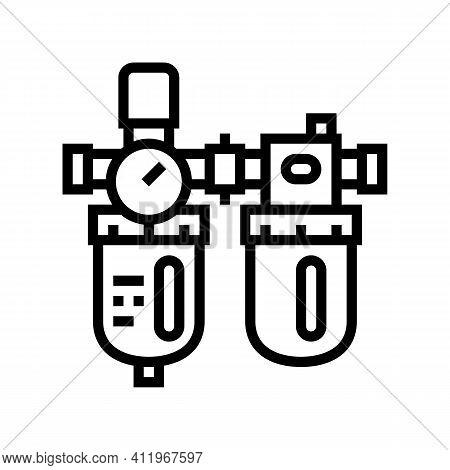 Filter Of Air Compressor Line Icon Vector. Filter Of Air Compressor Sign. Isolated Contour Symbol Bl