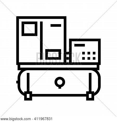 Spiral Air Compressor Line Icon Vector. Spiral Air Compressor Sign. Isolated Contour Symbol Black Il